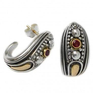 Gerochristo 1218 ~ Solid Gold, Silver & Rubies Medieval-Byzantine Open Hoop Earrings