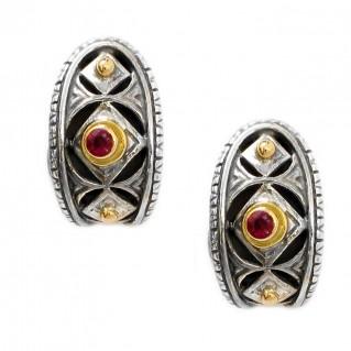 Gerochristo 1219 ~ Solid Gold, Silver & Rubies Medieval-Byzantine Half Hoop Earrings