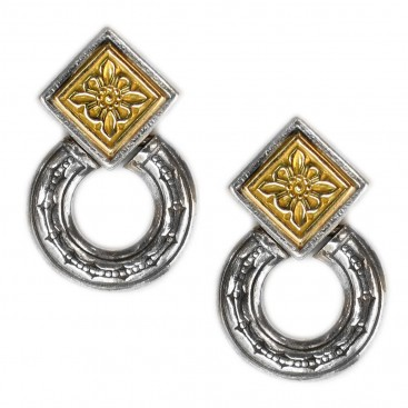 Gerochristo 1221 ~ Solid Gold & Sterling Silver Byzantine Medieval Earrings
