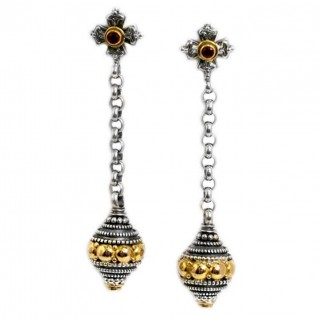 Gerochristo 1225 ~ Solid 18K Gold, Sterling Silver & Rubies Byzantine-Medieval Earrings