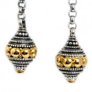 Gerochristo 1225 ~ Solid 18K Gold, Sterling Silver & Rubies Byzantine-Medieval Earrings