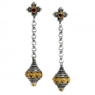 Gerochristo 1227 ~ Solid 18K Gold, Sterling Silver & Rubies Byzantine-Medieval Earrings