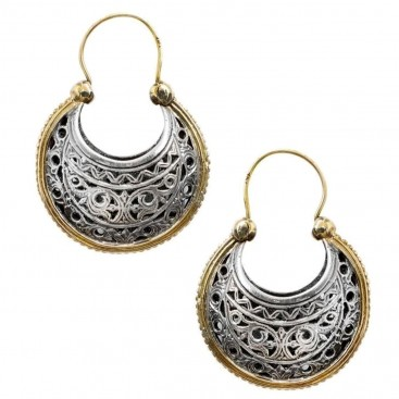 Gerochristo 1239 ~ Solid Gold & Silver Medieval-Byzantine Crescent Earrings