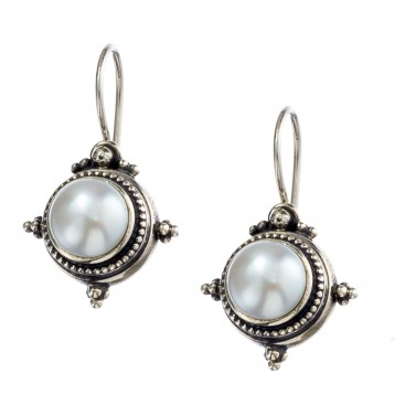 Gerochristo 1245 ~ Sterling Silver & Pearl Medieval-Byzantine Earrings