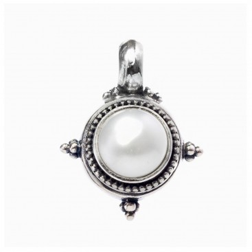 Gerochristo 1245 ~ Sterling Silver & Pearl Medieval-Byzantine Pendant