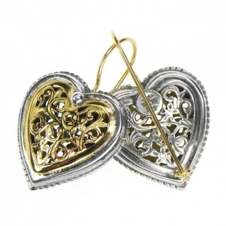 Gerochristo 1249 ~ Solid Gold & Sterling Silver Heart Earrings