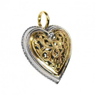 Gerochristo 1249 ~ Solid Gold & Sterling Silver Heart Pendant