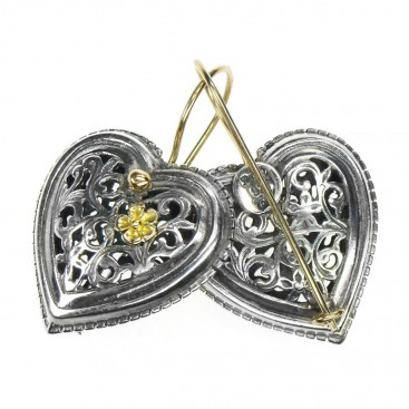 Gerochristo 1250 ~ Solid Gold & Sterling Silver Heart Earrings