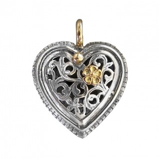 Gerochristo 1250 ~ Solid Gold & Sterling Silver Heart Pendant