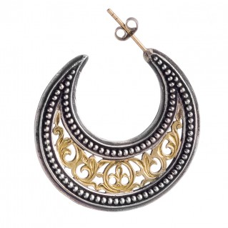 Gerochristo 1251 ~ Solid Gold & Silver Medieval-Byzantine Crescent Earrings - L