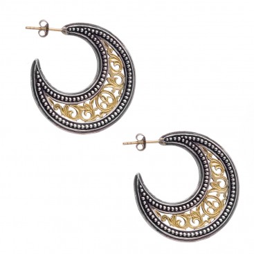 Gerochristo 1252 ~ Solid Gold & Silver Medieval-Byzantine Crescent Earrings - M