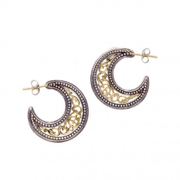 Gerochristo 1253 ~ Solid Gold & Silver Medieval-Byzantine Crescent Earrings - S