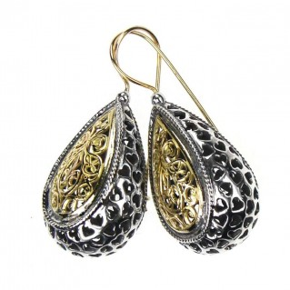 Gerochristo 1257 ~Solid Gold & Sterling Silver - Medieval-Byzantine Filigree Earrings