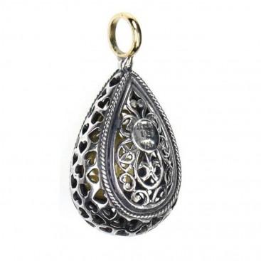 Gerochristo 1257 ~Solid Gold & Sterling Silver - Medieval-Byzantine Filigree Pendant