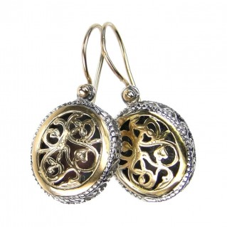 Gerochristo 1263 ~ Solid Gold & Sterling Silver - Medieval-Byzantine Filigree Earrings
