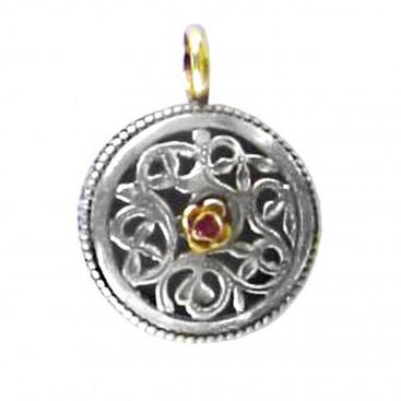 Gerochristo 1274 ~ Solid Gold, Silver & Ruby Filigree Pendant