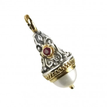 Gerochristo 1279 ~ Medieval-Byzantine Pendant - Gold, Silver, Pearl & Ruby