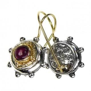 Gerochristo 1294 ~ Solid Gold & Sterling Silver Medieval-Byzantine Earrings