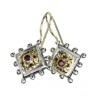 Gerochristo 1297 ~ Solid Gold, Silver & Rubies Medieval-Byzantine Earrings