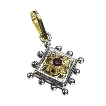 Gerochristo 1297 ~ Solid Gold, Silver & Ruby Medieval-Byzantine Pendant