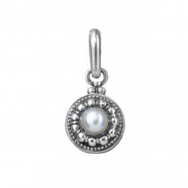 Gerochristo 1304N ~ Sterling Silver & Pearl Medieval-Byzantine Charm Pendant