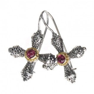 Gerochristo 1305 ~ Solid Gold & Sterling Silver Byzantine-Medieval Cross Earrings
