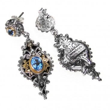 Gerochristo 1338 ~ Gold, Silver & Blue Topaz Medieval-Byzantine Earrings