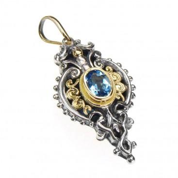 Gerochristo 1338 ~ Gold, Silver & Blue Topaz Medieval-Byzantine Pendant