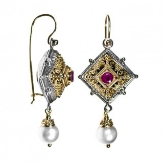 Gerochristo 1346 ~ Solid Gold, Sterling Silver and Gemstones Byzantine Medieval Long Earrings