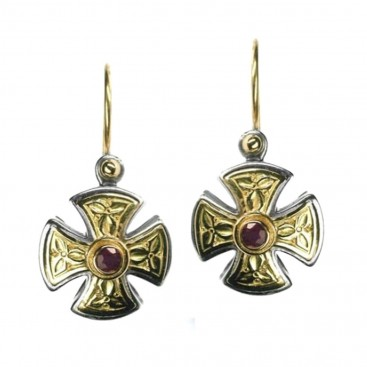 Gerochristo 1350 ~ Solid Gold & Silver Maltese Small Cross Earrings