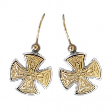 Gerochristo 1352 ~ Solid Gold & Silver Maltese Small Cross Earrings