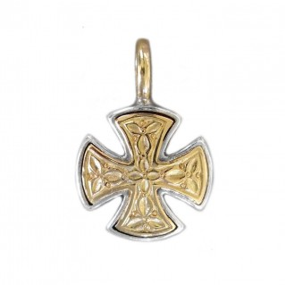 Gerochristo 1352 ~ Solid Gold & Silver Maltese Small Cross Pendant