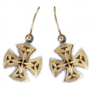 Gerochristo 1353 ~ Solid Gold & Silver Maltese Small Cross Earrings