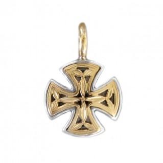 Gerochristo 1353 ~ Solid Gold & Silver Maltese Small Cross Pendant
