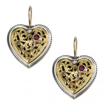 Gerochristo 1354 ~ Solid Gold, Silver & Rubies Filigree Heart Earrings