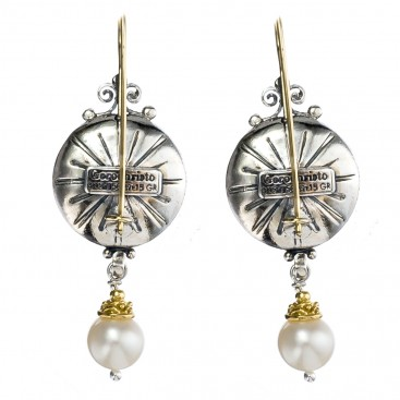 Gerochristo 1357 ~ Solid Gold, Silver & Pearls - Medieval Byzantine Earrings