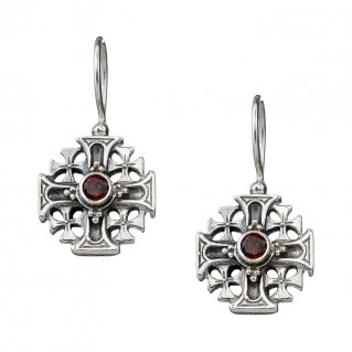 Gerochristo 1357N ~ Sterling Silver & Zircon Medieval Drop Cross Earrings