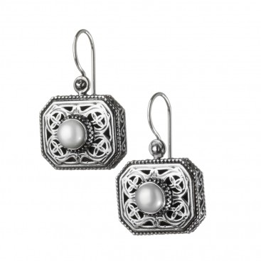 Gerochristo 1211N ~ Sterling Silver & Pearls Medieval-Byzantine Drop Earrings