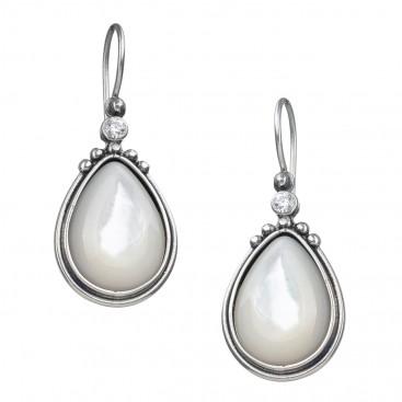 Gerochristo 1369N ~ Sterling Silver & Gems Medieval-Byzantine Drop Earrings