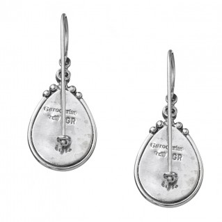 Gerochristo 1369N ~ Sterling Silver & Gems Medieval-Byzantine Drop Earrings