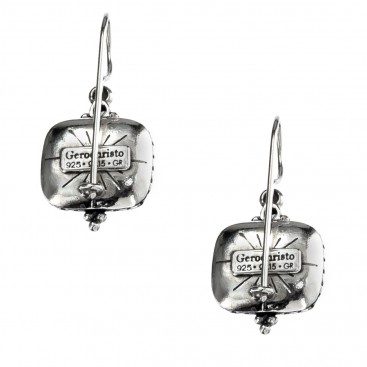 Gerochristo 1362N ~ Sterling Silver & Zircon Medieval-Byzantine Drop Earrings