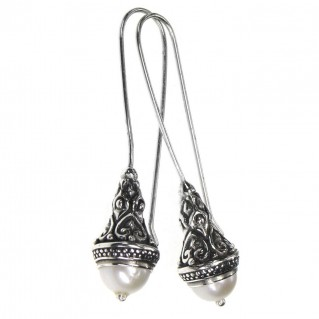 Gerochristo 1383 ~ Medieval-Byzantine Earrings - Sterling Silver & Pearls