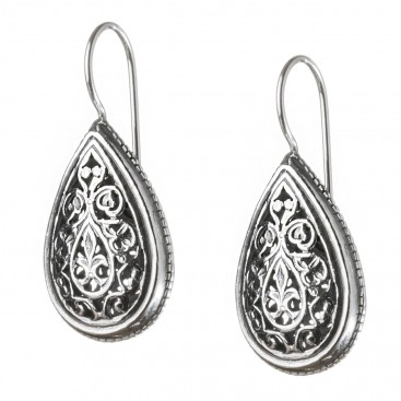 Gerochristo 1385 ~ Sterling Silver - Medieval Byzantine Filigree Earrings