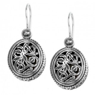 Gerochristo 1386 ~ Sterling Silver - Medieval-Byzantine Filigree Earrings