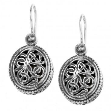 Gerochristo 1386 ~ Sterling Silver - Medieval-Byzantine Filigree Earrings