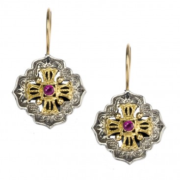 Gerochristo 1390 ~ Solid Gold and Sterling Silver Medieval - Byzantine Earrings