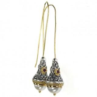 Gerochristo 1392 ~ Medieval-Byzantine Earrings - Gold, Silver, Pearls & Rubies
