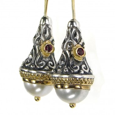 Gerochristo 1392 ~ Medieval-Byzantine Earrings - Gold, Silver, Pearls & Rubies