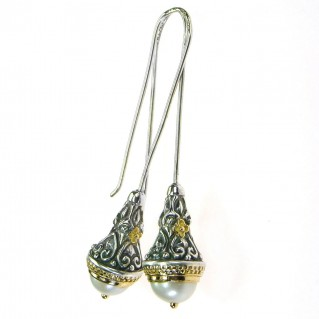 Gerochristo 1393 ~ Medieval-Byzantine Earrings - Solid Gold, Silver & Pearls