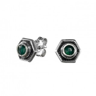 Gerochristo 1395N ~ Sterling Silver & Zircon Byzantine Stud Earrings